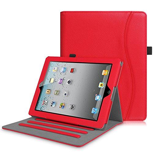 Fintie iPad 2/3 / 4 Custodia - [Multi-angli] Slim Fit Folio Smart Pieghevole Cover Protettiva Case con Auto Svegliati/Sonno per Apple iPad 2 / iPad 3 / iPad 4 Retina (con Tasca per le Schede), Rojo