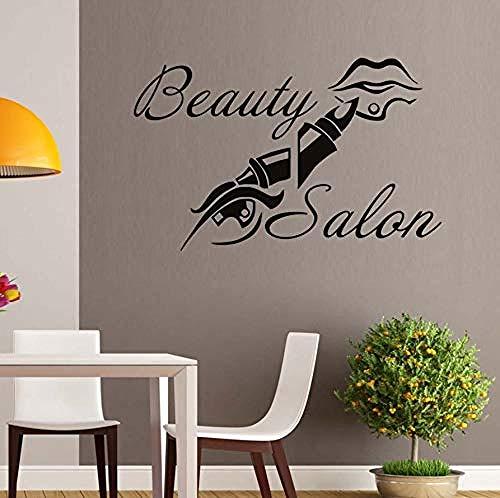 schwarze Wandaufkleber, Beauty Salon Make Up Lippenstift Lippen, Spa Shop Home Decor Wandkunst Aufkleber Sticker Fenster Schwarz Wasserdicht, 92X58cm