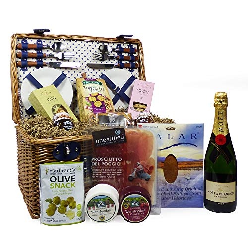 4 Person Wicker Picnic Basket Gift Set (Lonsdale) with 75cl Moet et Chandon Champagne and a Gourmet Hamper Picnic Food Selection - Ideas for Birthday, Christmas, Anniversary, Corporate, Wedding