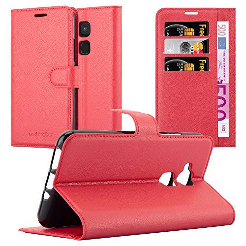 Cadorabo Hülle für BQ Aquaris V/Vs Plus - Hülle in Karmin ROT - Handyhülle mit Kartenfach und Standfunktion - Case Cover Schutzhülle Etui Tasche Book Klapp Style