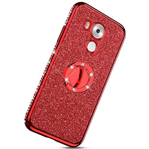 Herbests Kompatibel mit Huawei Mate 8 Glänzend Diamant Kristall Strass Glitzer TPU Handyhülle Handytasche Luxus Überzug Silikon Schutzhülle TPU Bumper Case mit Handy Fingerhalterung,Rot