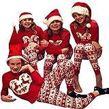 beautyjourney Famiglia Pigiami Natale Pigiama Bambina Natale Maniche Lunghe Pigiama Donna Ragazze Uomo Due Pezzi Natale Camicie da Notte Invernali - Famiglia Natale Pigiama Natale Indumenti da Notte