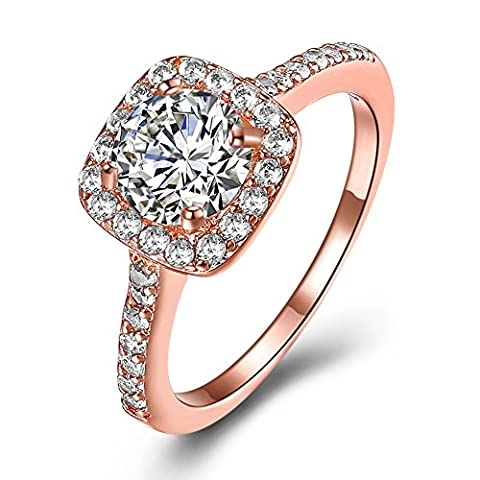 Eternal Love Women's 18K Rose Gold Plated CZ Crystal Engagement Rings Best Promise Rings Anniversary Wedding Bands for Lady Girl,