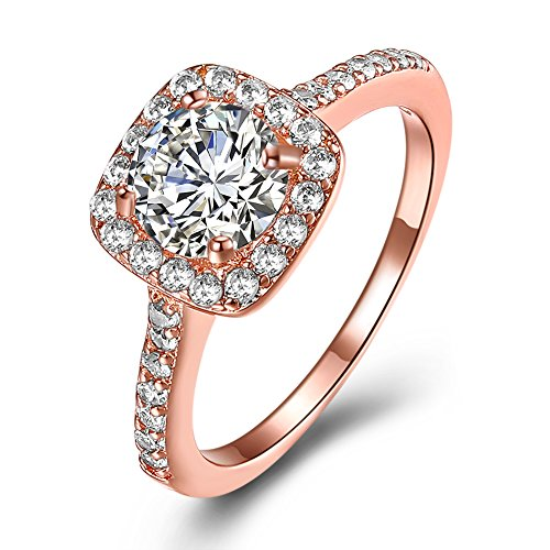 Eternal Love Women's 18K Rose Gold Plated CZ Crystal Engagement Rings Best Promise Rings Anniversary Wedding Bands for Lady Girl, JPR002-R-10-UK (Buddha Big Rose)