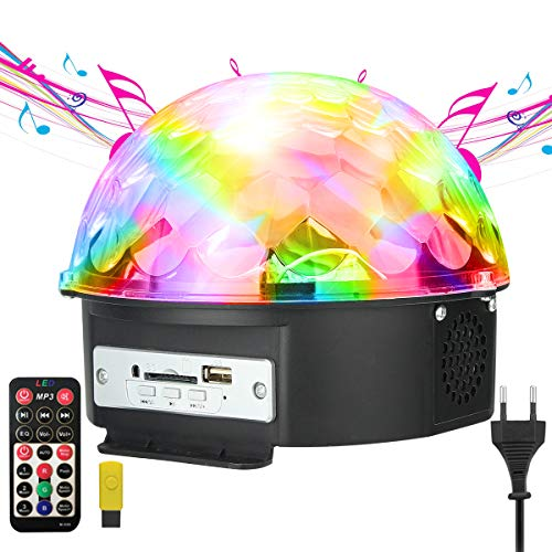 GUSODOR Disco Licht Bühne Licht LED Lichteffekte MP3 Musik Player RGB Sprachaktiviertes Kristall Magic Ball Party Beleuchtung für Show Disco KTV Stab Stadium Club Hochzeit Geburtstag Party (Zu Songs Halloween Einfache)