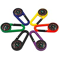 Plastic 2-in-1 Carabiner Compass Clip Outdoor Hiking Camping Keychain Multicolors(Pack of 6)