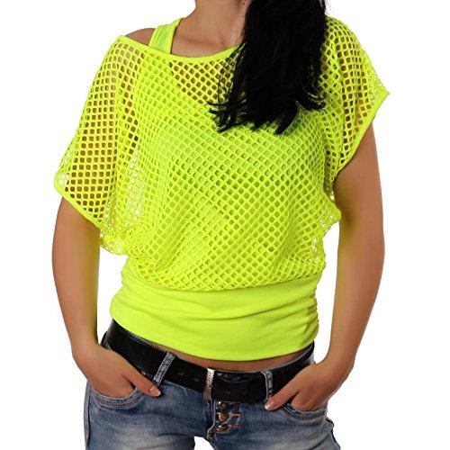 erteil Sommertop Fasching Partytop in Versch. Farben (L,Gelb) (Neon Shirt)