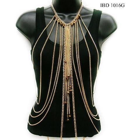 Mujer de Oro Tono Cuentas encanto gota Cadena Cuerpo de la moda joya de la cadena ibd1016g