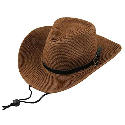 Bambini Ragazzi Regalo Cowboy Western Paglia Cappello da Sole Cap Costume Dono - Caffè, Taglia unica