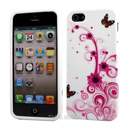 Apple iPhone 5 / 5s Etui Coque - Housse Etui Portefeuille Pu Cuir Rouge Pour Le Apple iPhone 5 5S - thinkmobile Papillon 5