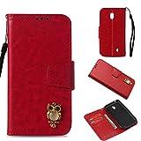 BoxTii Nokia 1 Coque, Portefeuille Housse de Protection pour Nokia 1 avec Gratuit Protection D'écran en Verre Trempé (Rouge)