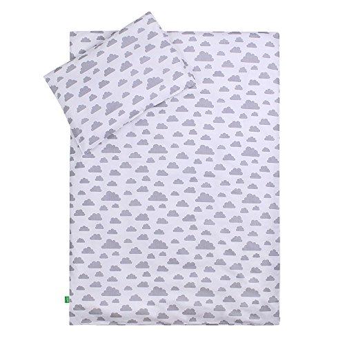 LULANDO Bettwäsche Kinderbettwäsche Bettset 2-teilig Kissenbezug und Bettbezug. Oberstoff 100% Baumwolle. Passend für Kinderbetten 70x140 cm. Farbe: Grey Clouds / White