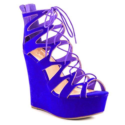 SHOFOO - Femmes - Stiletto - Cuir de daim synthétique - Semelle compensée 3 cm - Bride de cheville - Bleu ou Rose ou Bleu - Talon compensé - Bout rond ouvert