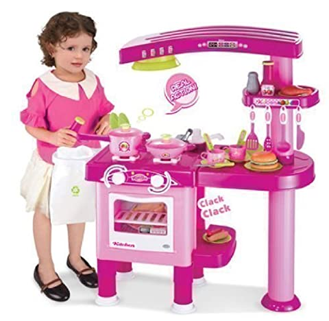 TODDLER KIDS PRETEND KITCHEN PLAYSET ROLE PLAY FOOD COOKER PANS TOY XMAS GIFT (PINK)