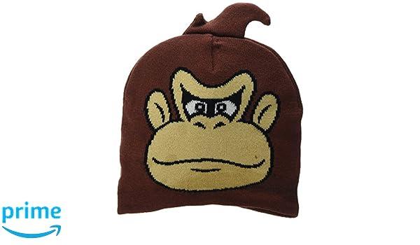 Unisex Nintendo Donkey Kong Face Cuffless Beanie, Brown, One Size Meroncourt