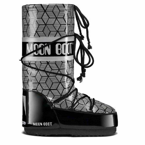 Tecnica moon boot bottes/rave raquettes - black-fluo fuchsia