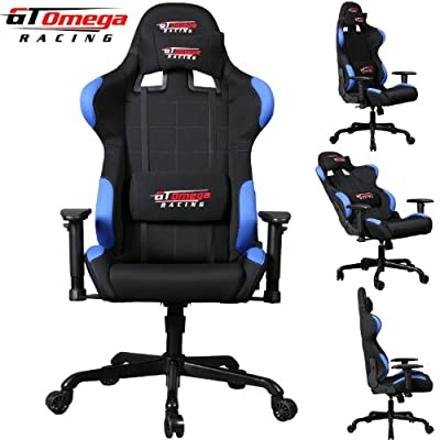Gt Omega Pro Racing Office Chair Black With Blue Fabric