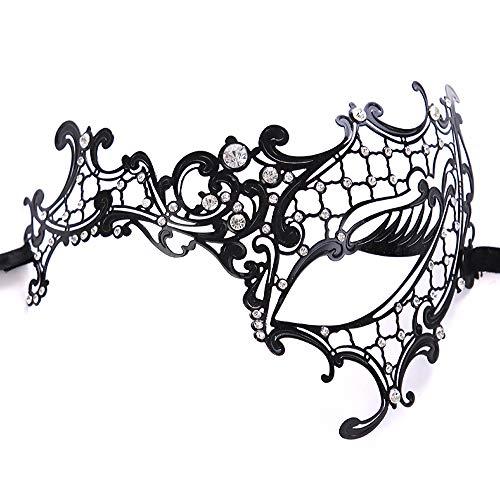 Máscara Venecia de filigrana con Slim metal y Diamante,Halloween Sexy Máscara de encaje para fiesta de disfraces, bodas, Mardi Gras, Carnaval y danza venecianas,Negro