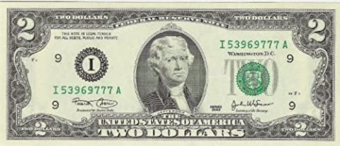 2 Dollar Bill - Holder Included - 1976 Series by