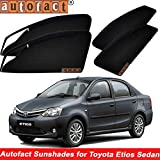 #7: Autofact Magnetic Window Sunshades/Curtains for Toyota Etios [Set of 4pc - Front 2pc With Zipper ; Rear 2pc Without Zipper] (Black)