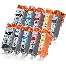 10 Druckerpatronen mit Chip und Füllstandsanzeige kompatibel zu Canon PGI-520 / CLI-521 (2x Schwarz, 1x Photoschwarz, 2x Cyan, 2x Magenta, 2x Gelb, 1x Grau) passend für Canon Pixma MP-980 MP-990
