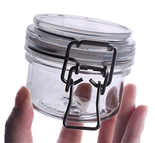 1PCS Vide En Plastique Transparent Ronde Airtight Canister Hermétique Masque Bouteille Capper Jar Cosmétique De Stockage Conteneur Boîtes De Rangement Alimentaire avec Acrylique Loquet Couvercle (120G/4oz)