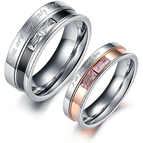 Bishilin Acciaio Inossidabile Baguette Zirconio Anello Fidanzamento Coppia Set con 2 Rings - Smeraldo Baguette Anello