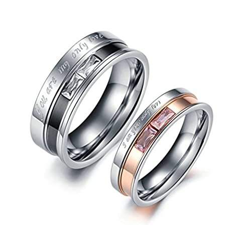 Bishilin Stainless Steel Baguette Zirconia Promise Rings for Couples Set with 2 Rings Women Size N 1/2 & Men Size T 1/2