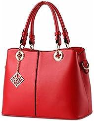 Mujeres temperamento Dulce señora moda femenina messenger bolsa de Hombro gran Rojo