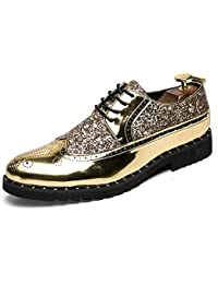 9e102ea661c Hilotu Men s Fashion Personality Sequins Patchwork Patent Leather Brogue  Shoes Casual Lace Up Prom Shoes