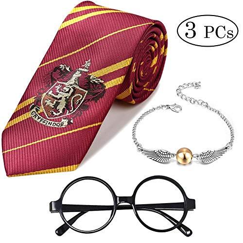 Shinelee 3 Stück Gestreifte Krawatte Goldener Schnatz Quicksilver Armband Party Zubehör Neuheit Wizard Brille für Kinder Harry Fans