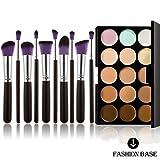 Fashion Base - Palette con correttori in crema, 15 colori + set 10 pennelli trucco