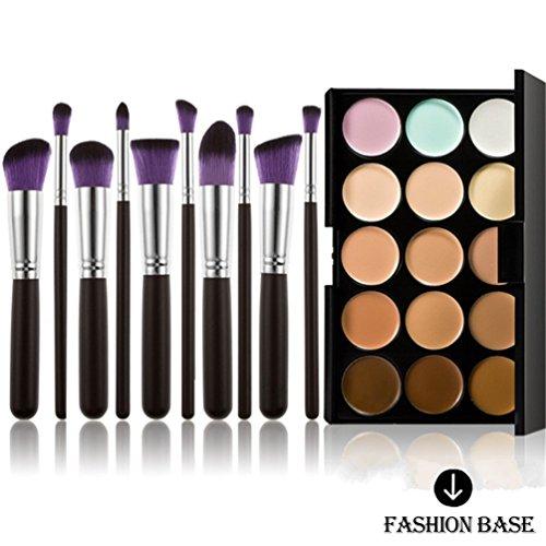 Fashion Base Contour crème pour le visage et le maquillage Anti-cernes Palette, 15 coloris différents avec pinceaux de maquillage, Pinceau fard à paupières, 10 pièces