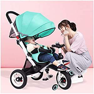GSDZSY - Children Tricycle 4 IN 1 With Comfortable Seat And Baby Can Lie Flat, Rotating Seat And Extended UV Protection Awning, 6 Months - 6 Years Old   3
