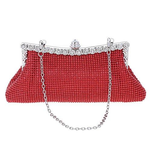 Damara® Party Damen Klein Handgelenktasche Handtaschen Mit Strass Rot