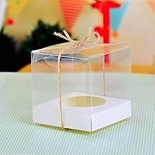 10x transparente PVC único cajas para cupcakes con color blanco