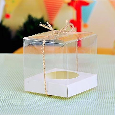 10x Transparente Cupcake-Boxen, PVC, für einzelnen Cupcake, mit weißem Einsatz (Single Cupcake Box)