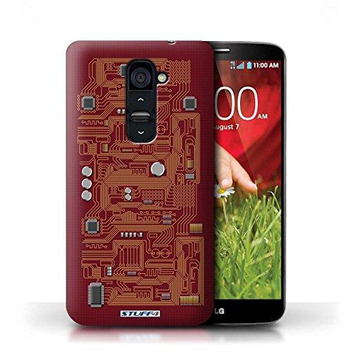 Kobalt® Imprimé Etui / Coque pour LG G2 / Rouge conception / Série Circuit Board Rouge