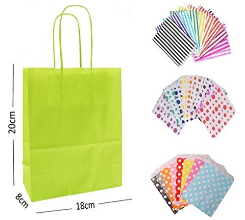10x Lime Grün Party Papier Geschenk Taschen-mit passendem Sweet Candy Stripe Bag