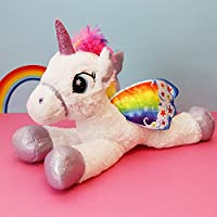 "18"" Large Rainbow Winged Unicorn Kids Stuffed Cuddly Soft Plush Toy Pony Teddy"