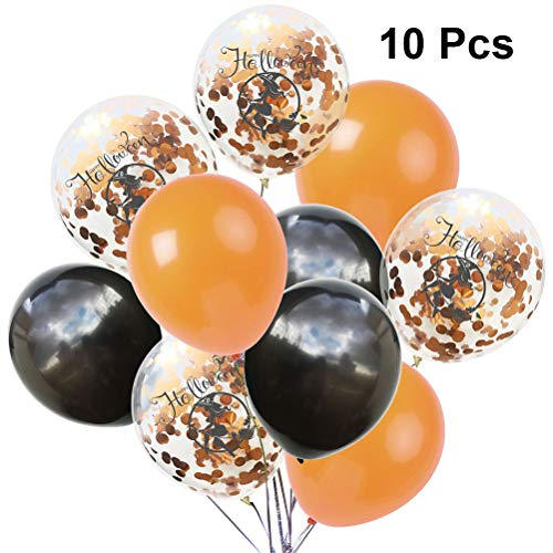 Amosfun 10pcs Halloween Luftballons Hexe Druck Latex Pailletten Paillette Ballon Kit für Spukhaus Halloween Scary Theme Party Decor (Orange Schwarz)