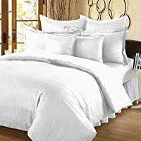 Fresh From Loom Platinum Superior Elegant 300 TC Cotton Bedsheet Cum Bed Spread with 2 Pillow Covers - Striped, King Size, White