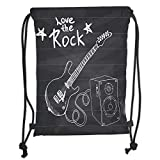 Icndpshorts Drawstring Backpacks Bags,Guitar,Love The Rock Music Themed Sketch Art Sound Box and Text on Chalkboard Prin