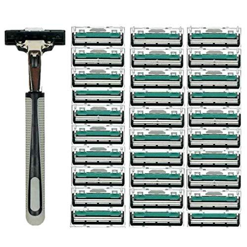 Preisvergleich Produktbild Aiming Männer Griff Rasieren Rasierer Rasierer Austauschbare Gerade Handbuch Razor Bartschneider mit 30pcs Doppelte Schichten Rasierklingen