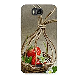 Delighted Straberry Basket Multicolor Back Case Cover for Honor Bee