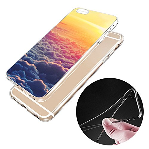 iPhone 6 Hülle, Landschaft Gebäude Sternenhimmel Muster ultra chic dünn flexibleschützend TPU Fall geschützt Cover für das iPhone 6/6s jg12