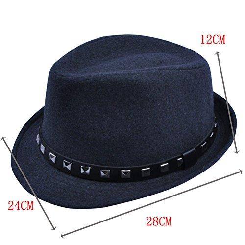 Nanxson(TM) Chapeau En Laine Punk Jazz Avec Décoration Des Rivets Mode Pour Femmes Multi-couleurs MZW0033 Gris