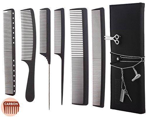 6 Stück Professionelle Friseursalon Haarschneide Scheren Set, Haarstylist Friseur Scheren-Set mit Friseur Brosche und Strass-Stein Halskette