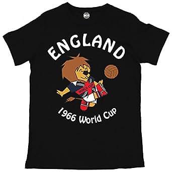 Batch1 Men's World Cup Willy England Football Mascot 1966 Retro Print T-Shirt Black Small