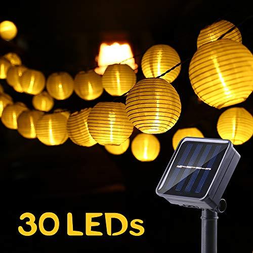Solar Lichterkette Aussen Lampions, LED Außenlichterkette Solar 6 Meter 30 Laternen 2 Modi Wasserdicht, Solarbetrieben Lichterkette Dekoration für Garten, Hof, Hochzeit, Fest Deko (Warmweiß)